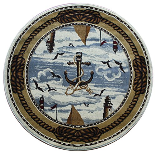 Round Area Rug Nautical Scene (4 Feet X 4 Feet) Round