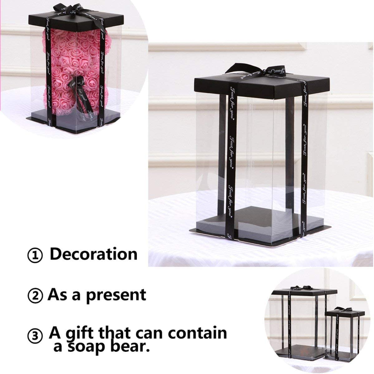Caroline Philipson Transparent Empty Gift Box for Artificial Teddy Bear Rose Flower Gifts Box Women Plush Bear Rabbit Gift