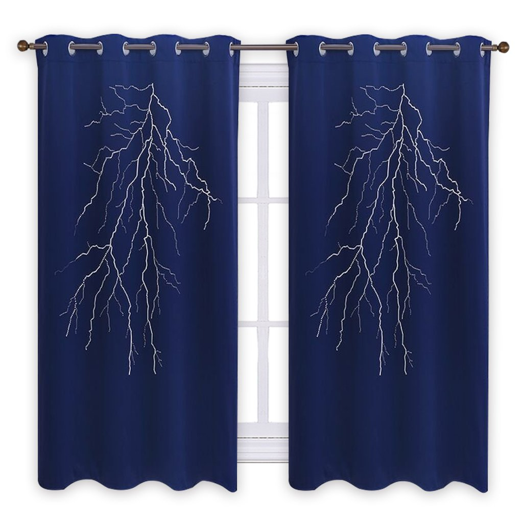 PONY DANCE Lightning Cutout Curtain - Hollow Out Blackout Drapes Home Decorative Laser Cutting Panel Grommet Blind for Kid's Bedroom Window Treatments, 52'' W x 63'' L, Navy Blue, 1 Piece