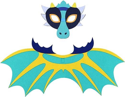 BESTOYARD Disfraz de Dragón con Mascára y Alas Azul para ...