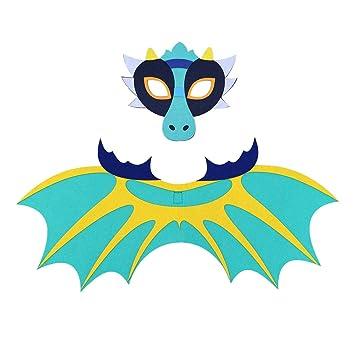 BESTOYARD Disfraz de Dinosaurio con Máscara y ala para Halloween Fiesta Programa para Niños (Azul