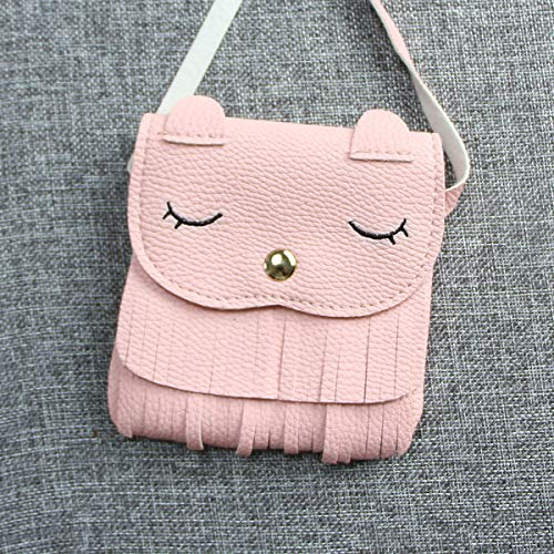 Mini Purse Soft Yodensity Tiny Bag On Tassel Shoulder Pink Girls Comfortable PU Carry Bag Cat with Leather q1R14wxS