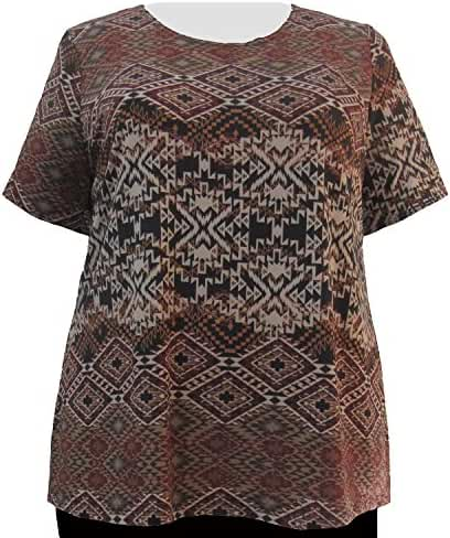 A Personal Touch Beige Diamond Tribal Top Women's Plus Size Top