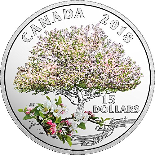 2018 CA Modern Commemorative PowerCoin APPLE BLOSSOMS Celebration of Spring Silver Coin 15$ Canada 2018 Proof]()