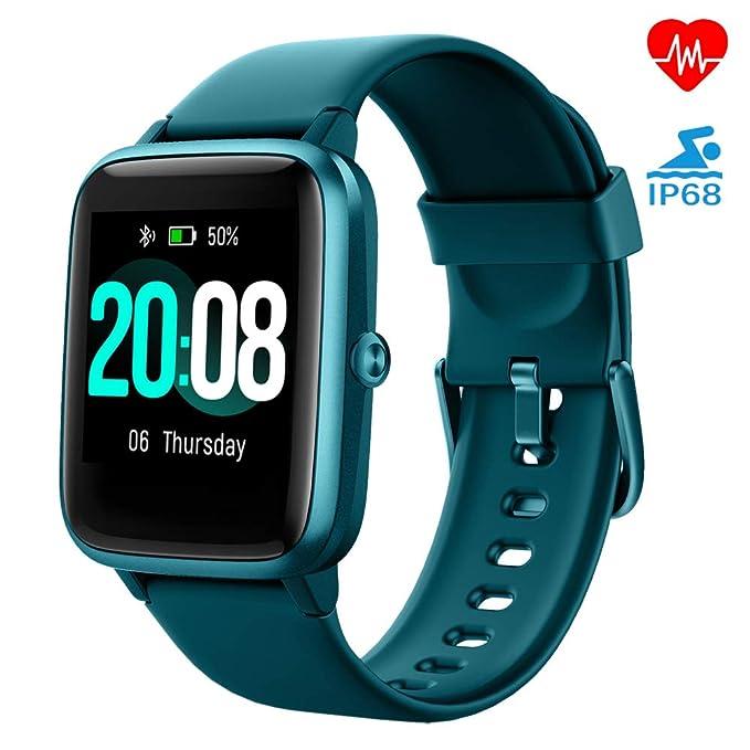 LIFEBEE Reloj Inteligente, Smartwatch Hombre y Mujer Pulsera Actividad Inteligent Deportivo Impermeable IP68 con Pulsómetro, Monitor de Sueño, ...