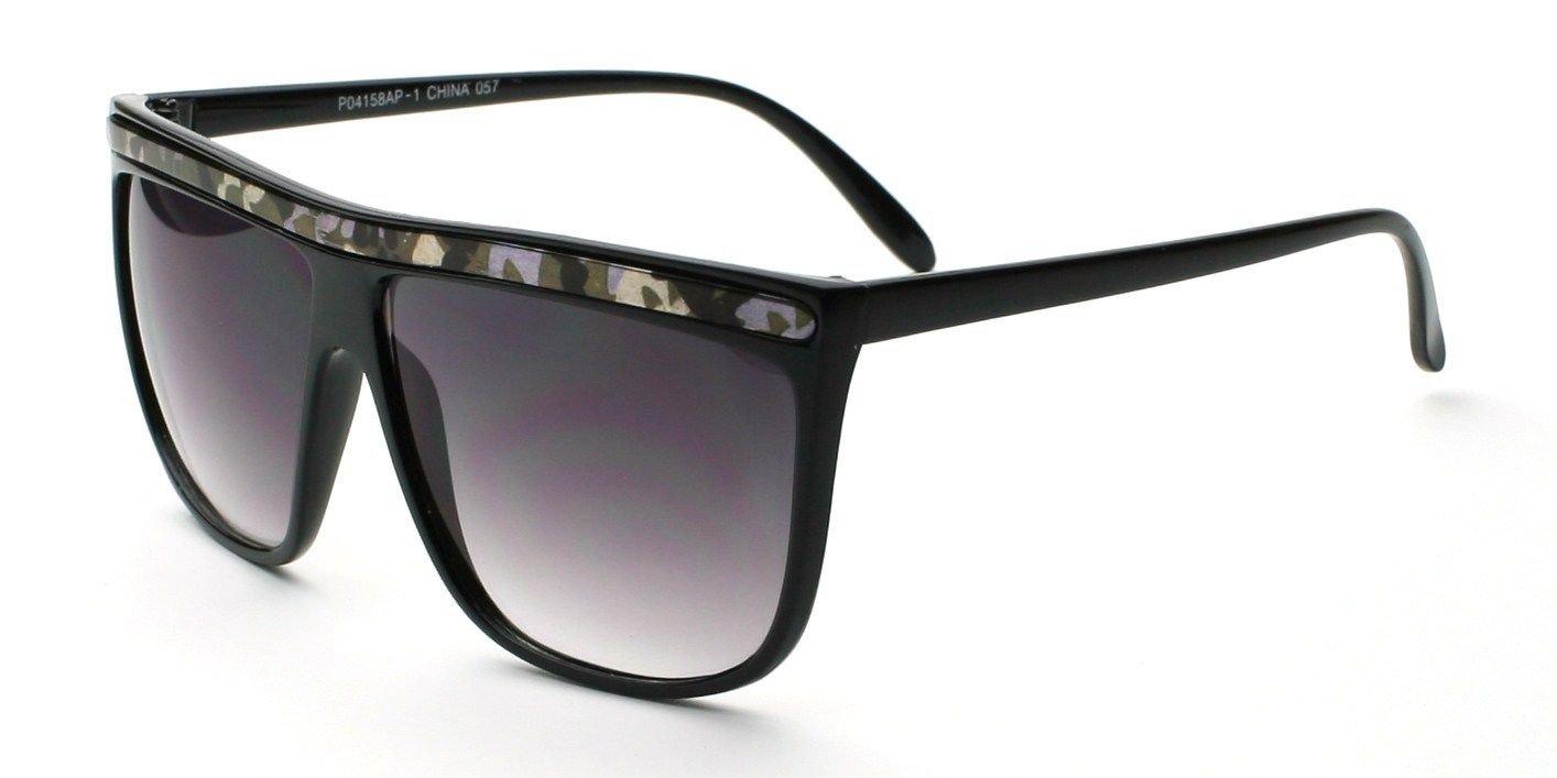 Black Camouflage Retro Vintage Flat Top Animal Print Women Men Rectangle Fashion Sunglasses