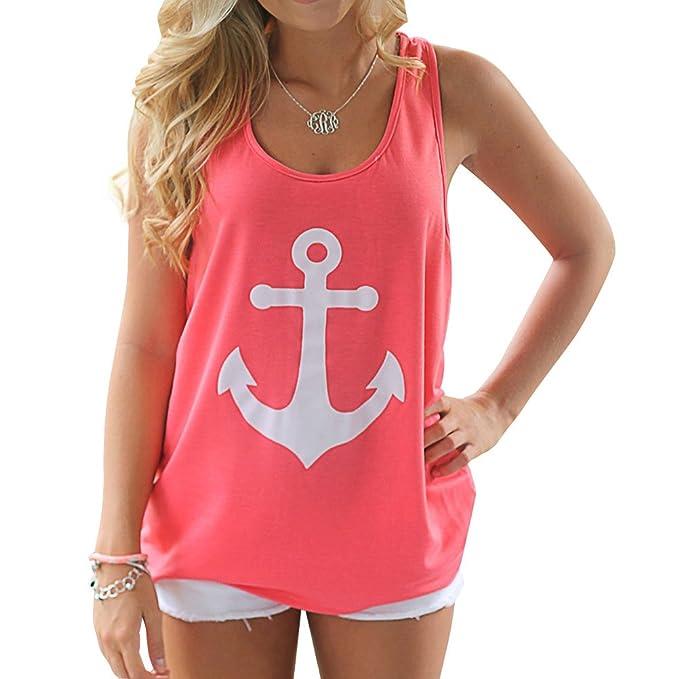 812fc1d7d655 Amazon.com  Phoenix Women Naval Anchor Print Back Bow Sleeveless Shirt  Blouse Tank Top (2XL