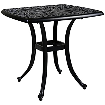 Charles Bentley Cast Aluminium Black Square Coffee Side Table Outdoor  Garden Patio Poolside Furniture