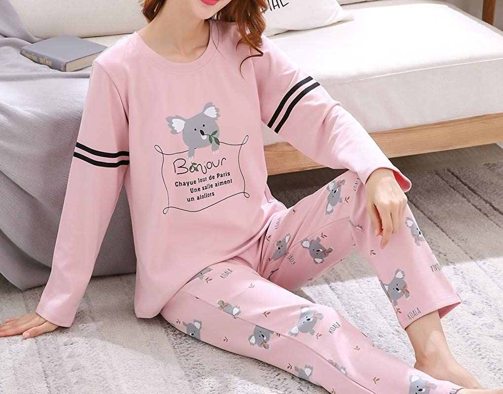Vopmocld Big Girls Lovely Koala Pajamas Cartoon Design Long Sleeve Funny Sleepwear pjs