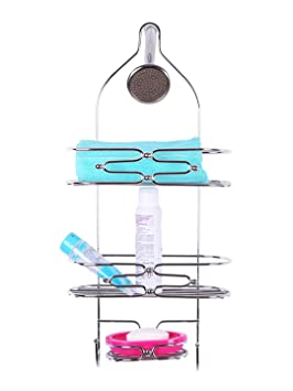 Zahab Bathroom and Kitchen Stainless Steel Wall Hanging Storage Shelves Shower Caddy Heavy Quality Size 24 x 5 x10
