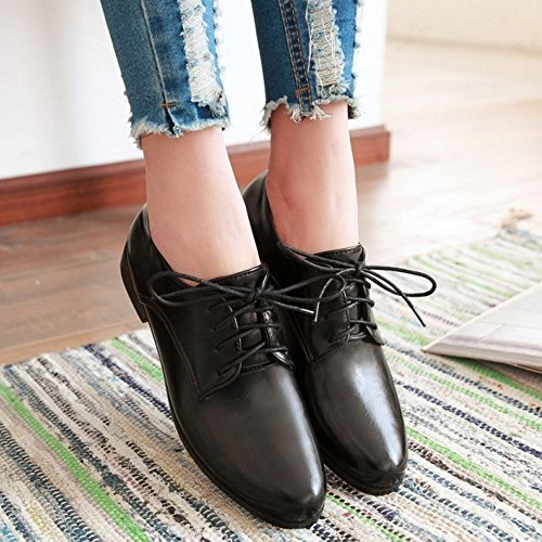Zanpa Mujer Casual Cordones Bombas Oxford Zapatos Plano Extra Sizes 0-13 Negro