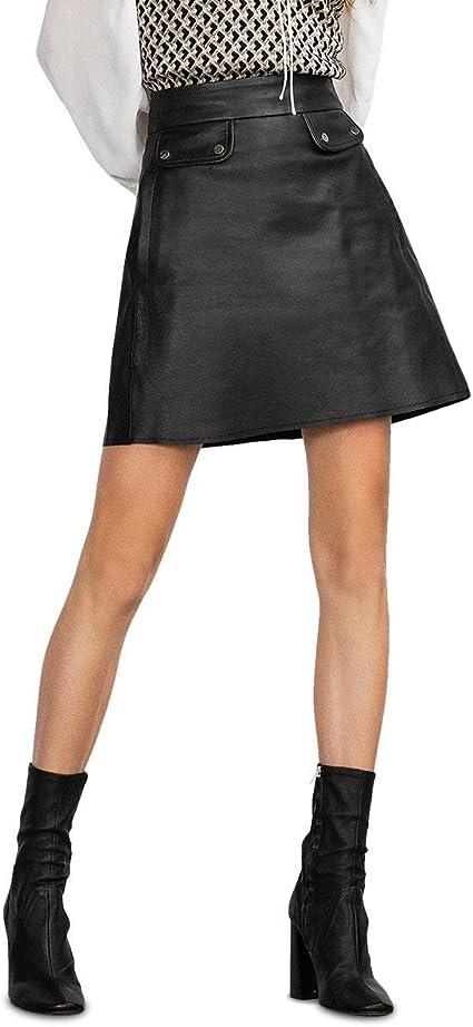 61520 Falda de Cintura Alta y de Cuero Negro con Bolsillos ...
