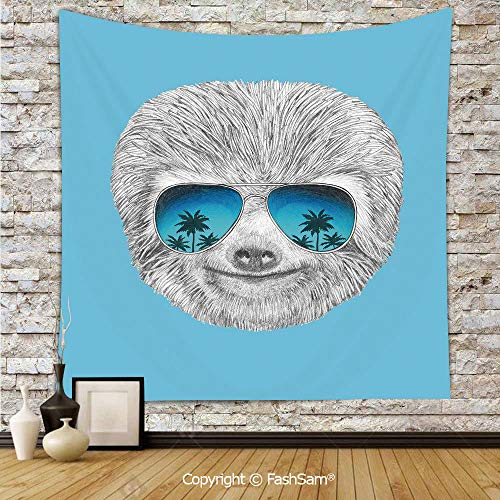 (FashSam Hanging Tapestries Portrait of Sloth with Mirror Sunglasses Exotic Palm Trees Hawaiian Beach Hipster Wall Blanket for Living Room Dorm Decor(W51xL59))