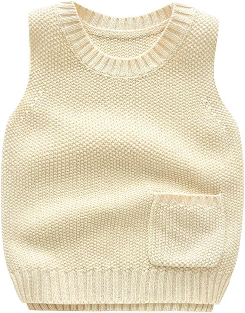 Shengwan Strickweste Kinder Jungen /Ärmellos Sweater Pullover Rundhalsausschnitt Weste Top