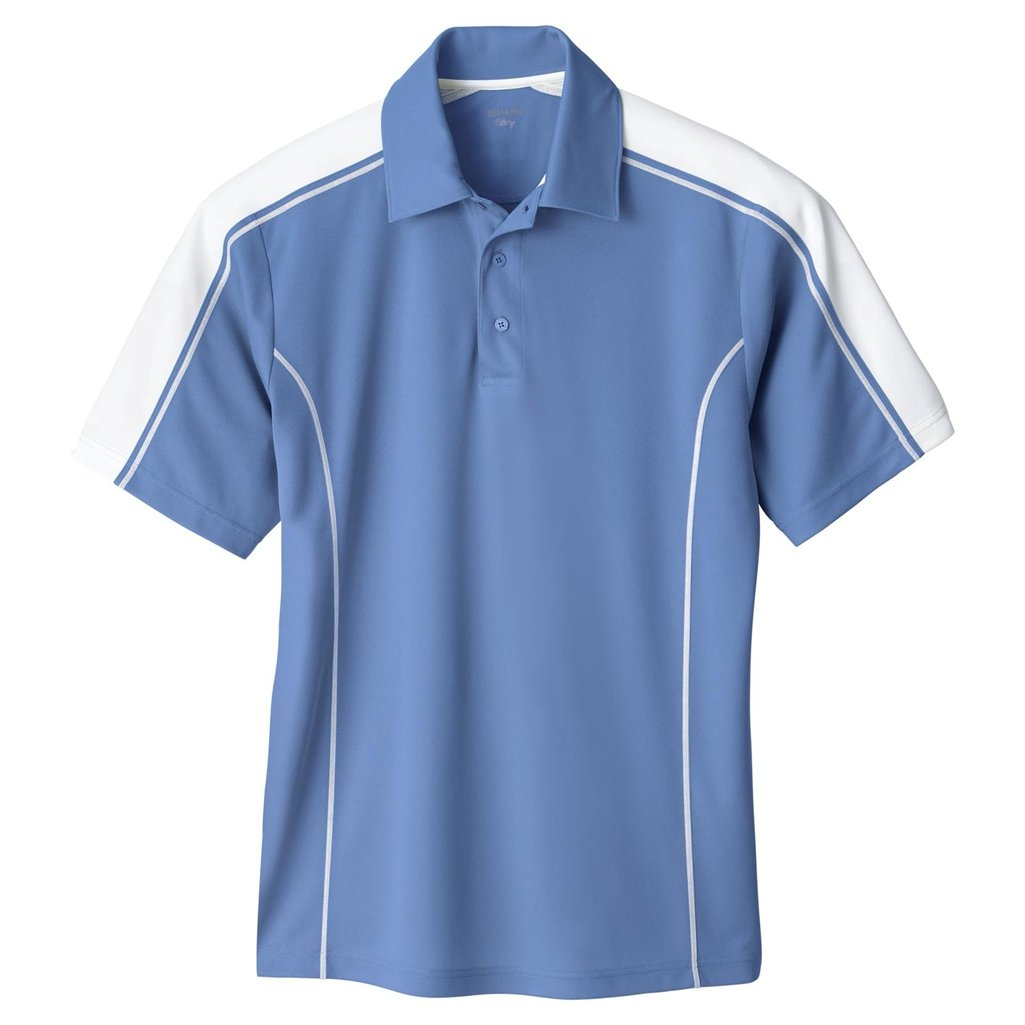Ash City Mens Eperformance Extreme Pique Color Block Polo Shirt (Small, Lake Blue/White)