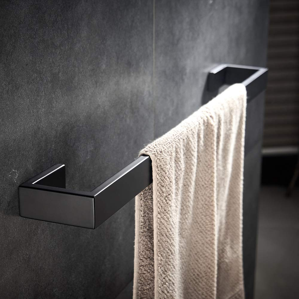 4 piece Bathroom Hardware Set Matte Black Stainless Steel Towel Bar Wall Mounted Bathroom Accessories by YJ YANJUN (Image #2)