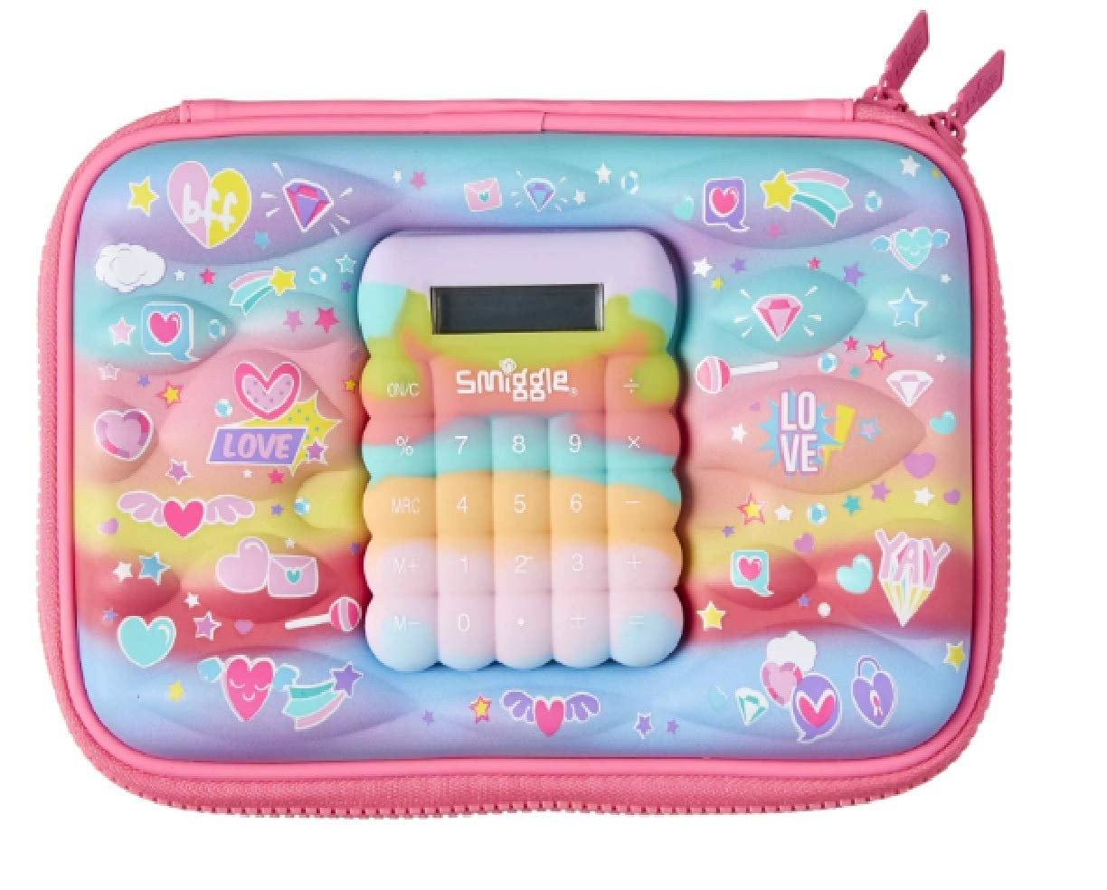 Smiggle Super Cute Calculator Blend Hardtop Pencil Case from Maxmillion London (Pink Love)