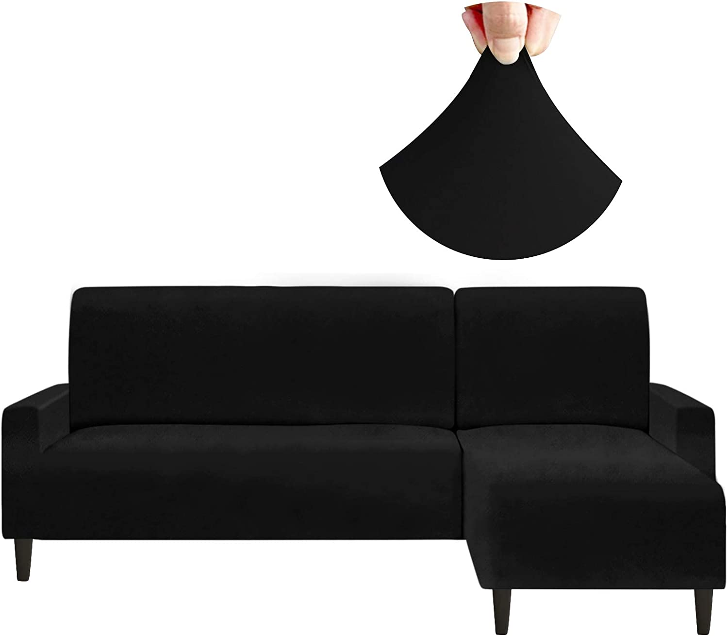 Arfntevss Stretch Sectional Couch Covers Water Resistant 2 Pieces L Shaped Sofa Cover Set Extra Soft Thick L-Shape Slipcovers for Living Room Dogs Proof Non Slip Furniture Protector (Black, Large)