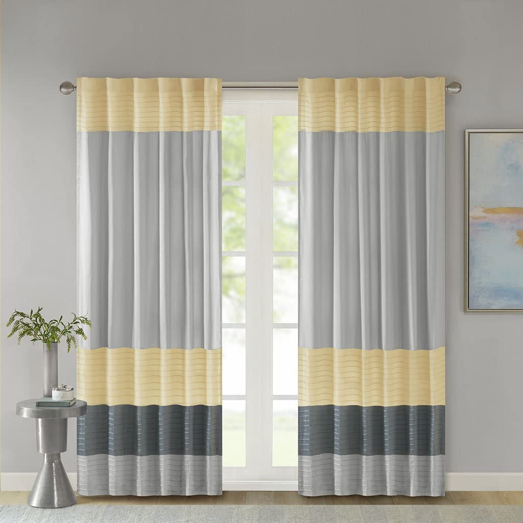 Madison Park Room-Darkening Window Treatment Curtain Solid Thermal Insulated Panel Blackout Drapes for Bedroom Livingroom and Dorm, 50x84, Yellow