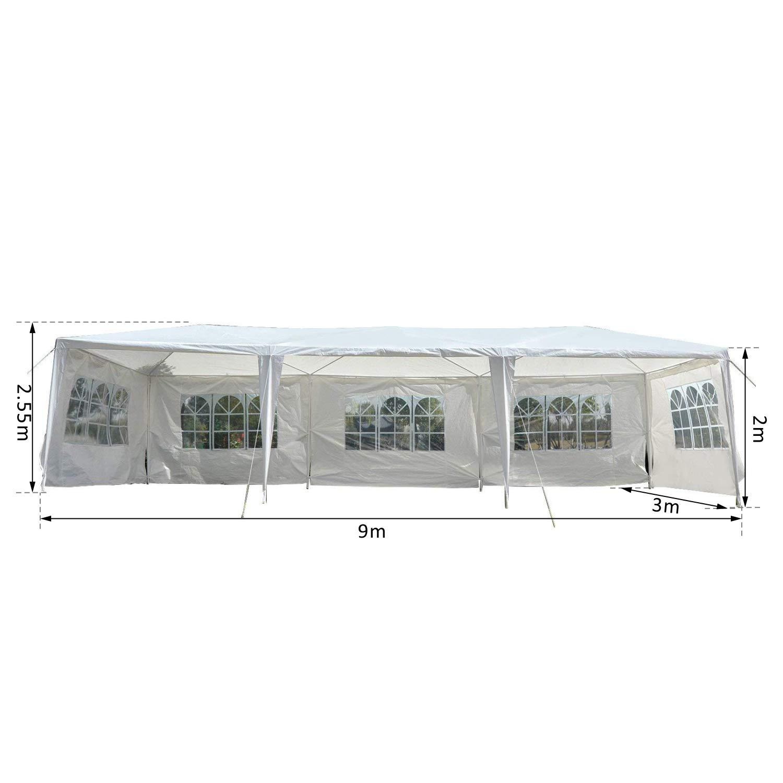 Outsunny Carpa Desmontable Pabellón Gazebo - Color Blanco - Polietileno 90g/m2 y Postes Metálicos - 9x3x2, 55 m: Amazon.es: Jardín