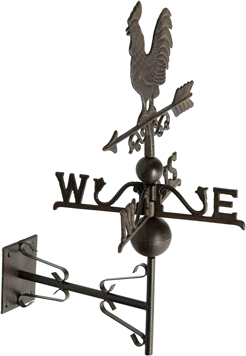 aubaho Nostalgia wall weathercock decoration garden pinwheel iron brown
