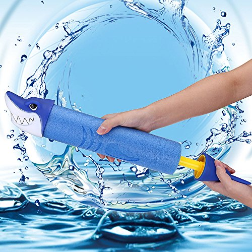 Cute Shark Super Soaker Water Gun 30ft Long Range Water Blaster High Capacity Squirt Toy Swimming Pool Beach Sand Water Fighting Toy for Kids Adults 3 Ages and Up]()