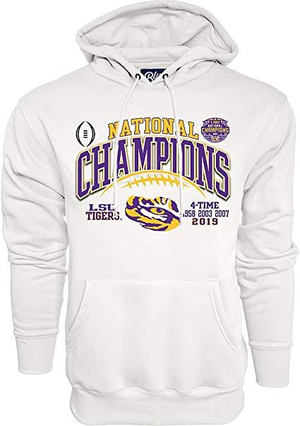 Elite Fan Shop LSU Tigers National Championship Champs Hooded Sweatshirt 2019-2020 Laces Black