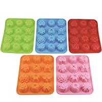 (Pack of 5) 12 Cavity Silicone Flower Soap Mold Cake Bread Mold Chocolate Jelly Candy Baking Mould - 5 Colors(Pink, Blue…