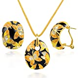 "QIANSE ""Spring of Versailles"" Handcrafted Enamel Butterfly Jewelry Set"
