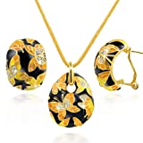 """Amazon Price History for:Qianse """"Spring of Versailles"""" Handcrafted Butterfly Cloisonne Earrings Pendant Necklace Jewelry Set"""