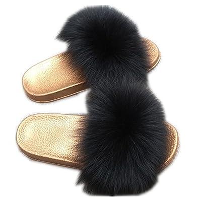 9a07657b415a QMFUR Women Real Fox Fur Slippers Fashion Slides Flat Glod Soft Summer Shoes  for Girls (