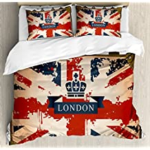 Union Jack Duvet Cover Set King Size by Ambesonne, Vintage Travel Suitcase with British Flag London Ribbon and Crown Image, Decorative 3 Piece Bedding Set with 2 Pillow Shams, Dark Blue Red Brown