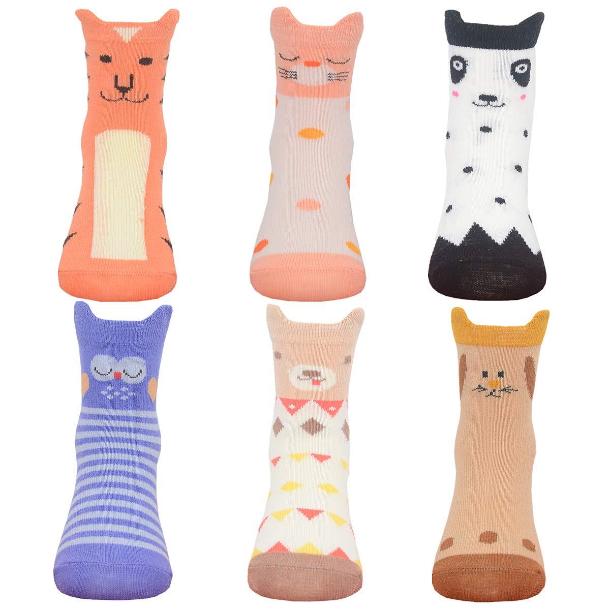 Nuziku Baby Toddler Girls Crew Grip Socks Anti Slip Non Skid Animal Cotton Stockings 6 Pairs