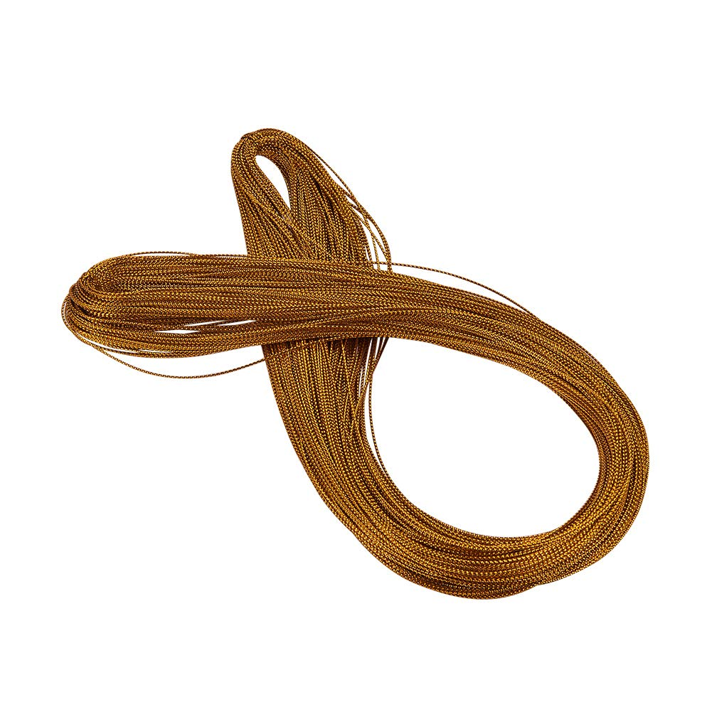 PandaHall Elite 100m / Bundle 1 mm Goldrute geflochtene Nicht elastische Perlen Metallic Cords für Schmuckherstellung, Geschenkverpackung, Geschenkbeutel Krawatte
