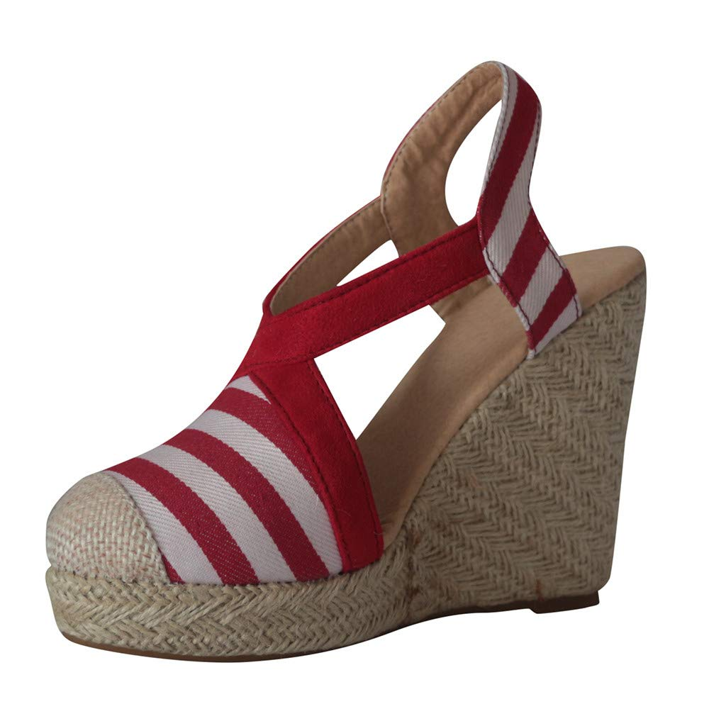 LUCAMORE Womens Fashion Espadrille Wedges Cross Strap Closed Toe Heeled Sandals