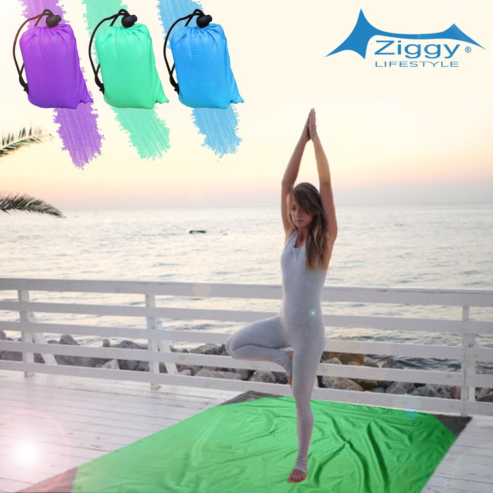 Large Size 55x79 Puncture Resistant /& Ultra-Light Packed ZiggyShade Pocket Blanket Waterproof for Camping Beach Hiking Picnics and More Made with Durable Nylon