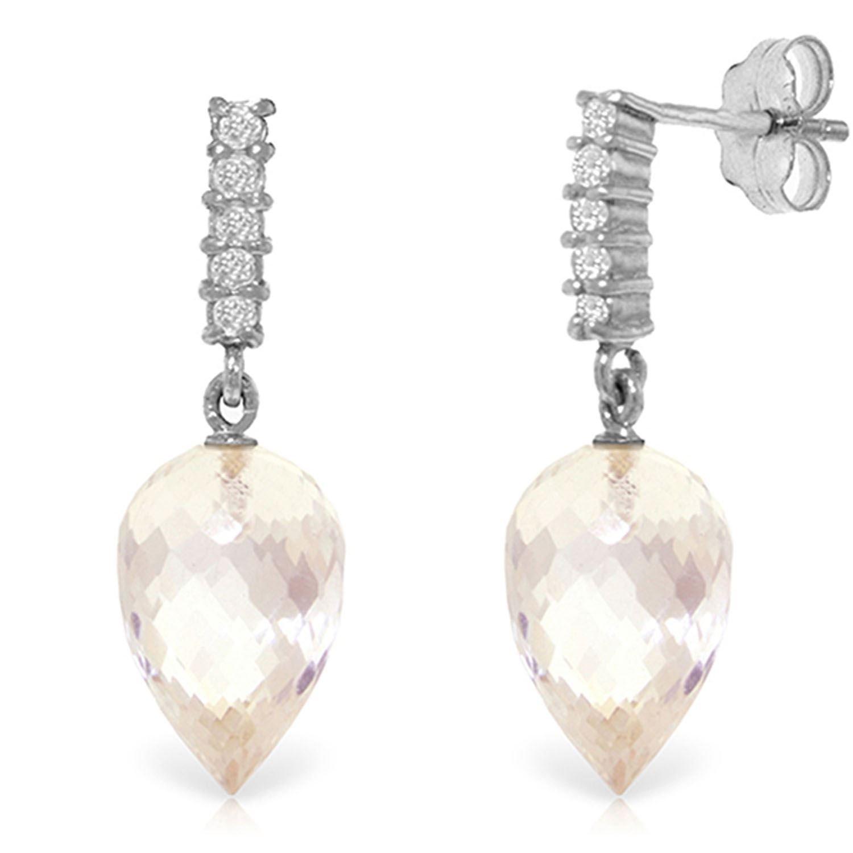 ALARRI 24.65 Carat 14K Solid White Gold Serenity Of Love White Topaz Diamond Earings