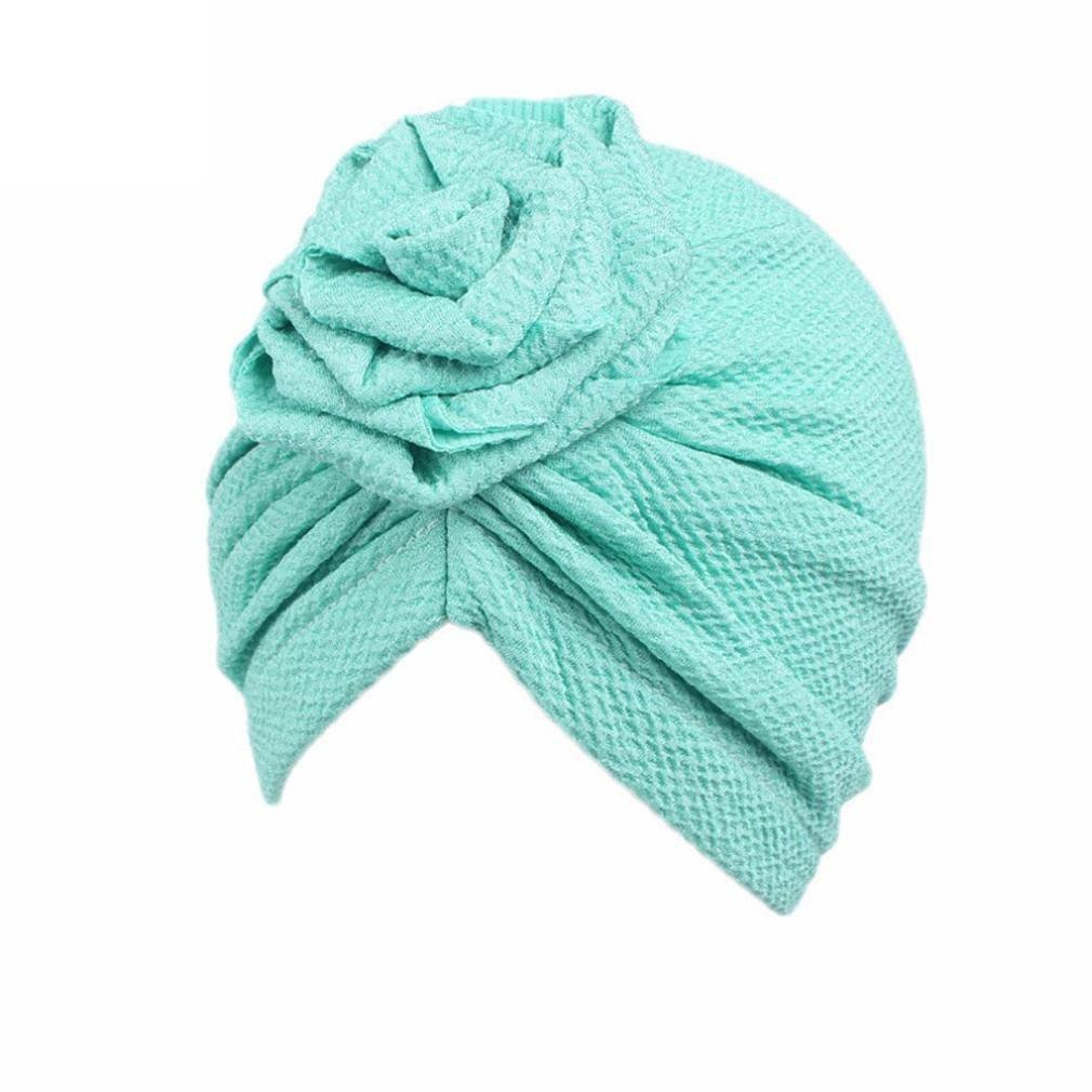 Tiean Children Baby Girls Boho Hat Beanie Scarf Turban Head Wrap Cap (Green)