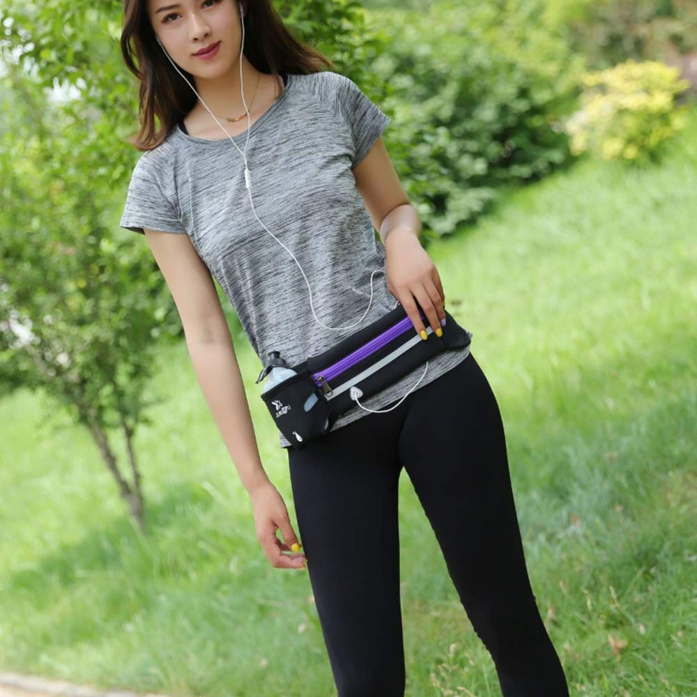 Adjustable Runners Belt with Water Bottle Holder Unisex for Workouts Cycling Travelling Outdoors,Black MHO Fanny Pack Running Pouch Belt Sport Exercise Hiking Waist Bag