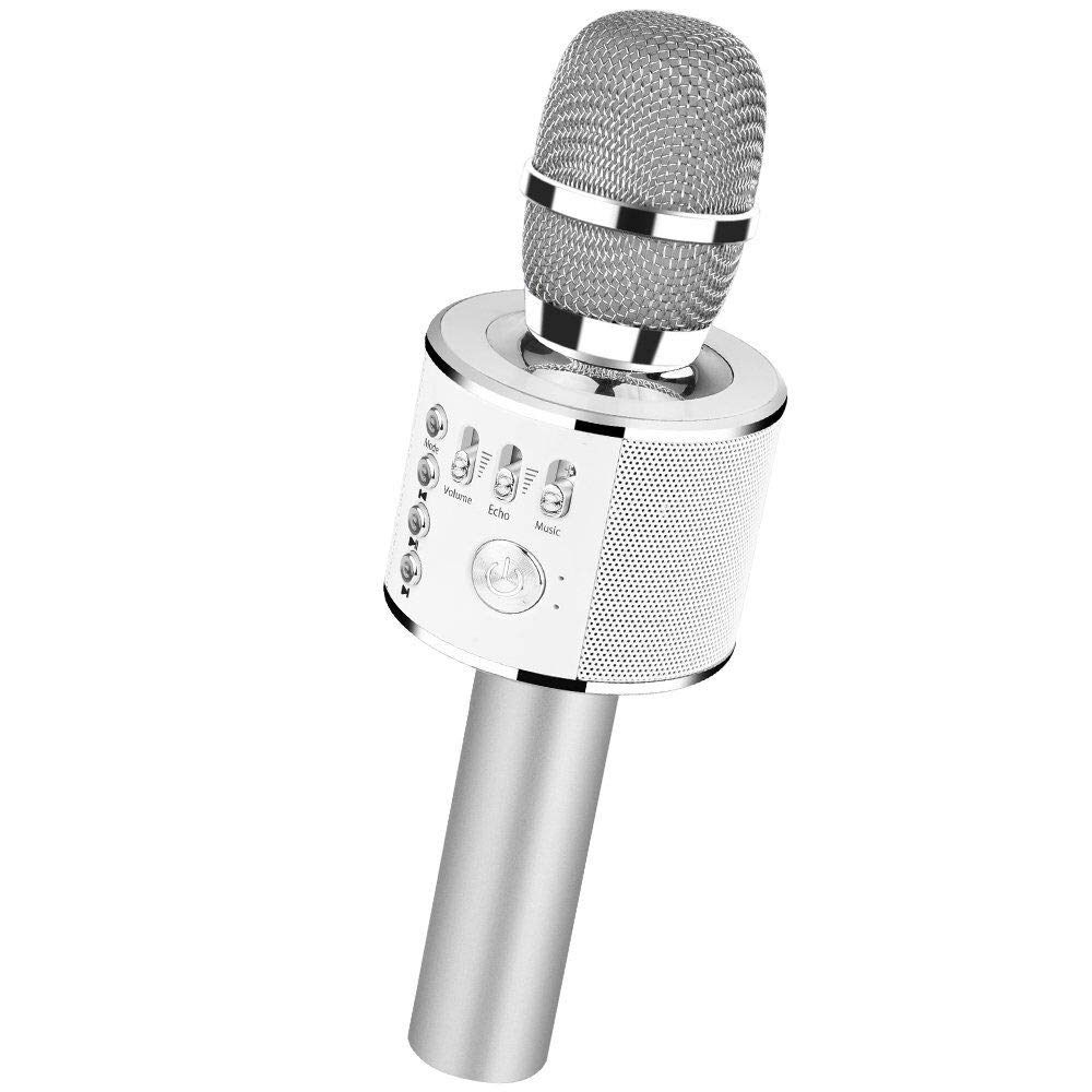 Verkstar Bluetooth Wireless Microphone Karaoke, Portable Karaoke Speaker Home Birthday Party Machine for iPhone/Android/PC/All Smartphones (Silver)