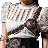 Steampunk Body Chest Harness Accessories Vintage Victorian Straps with LED Light Gothic Adjustable Belt