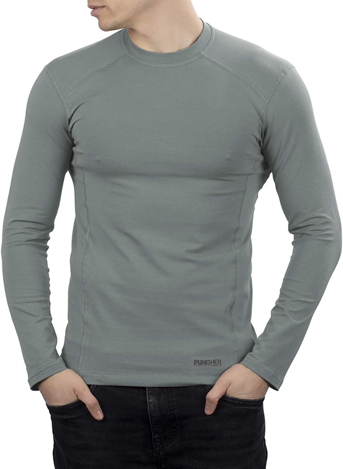 281Z Mens Military Stretch Cotton Long Sleeve T-Shirt - Tactical Hiking Outdoor Undershirt - Punisher Combat Line