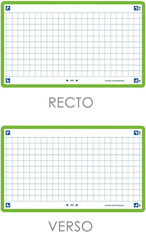 Oxford Flash 2.0 Lot de 80 Fiches Flash Cards Format 7 cadre Vert 5cm petits carreaux Recto//Verso 5 x 12 Fiches Bristol