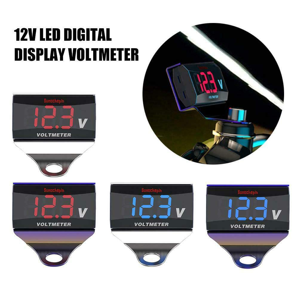 Maserfaliw Motorcycle Voltmeter Gauges Interior Accessories 12V Motorcycle LED Digital Display Voltmeter Voltage Volt Gauge Panel Meter 1#