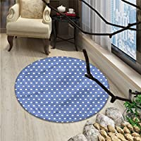 Retro Round Rug Kid Carpet White Polka Dots on Blue Background Romantic Classical Vintage Style PatternOriental Floor and Carpets Violet Blue White