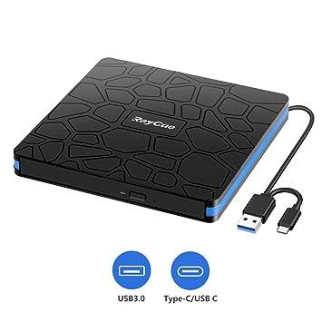 Unidad de CD DVD Externa, lectora portátil de CD-RW/DVD-RW con USB 3.0 y Tipo C para computadora portátil, computadora de Escritorio, Macbook, Mac OS, ...