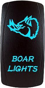 Bright Light Powersports - Laser Rocker Switch - BOAR LIGHTS- Universal On/Off - 12 Volt (BLUE)