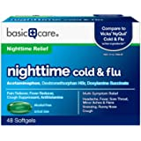 Amazon Basic Care Nite Time Cold & Flu Relief Softgels, Pain Reliever, Fever Reducer, Cough Suppressant & Antihistamine…