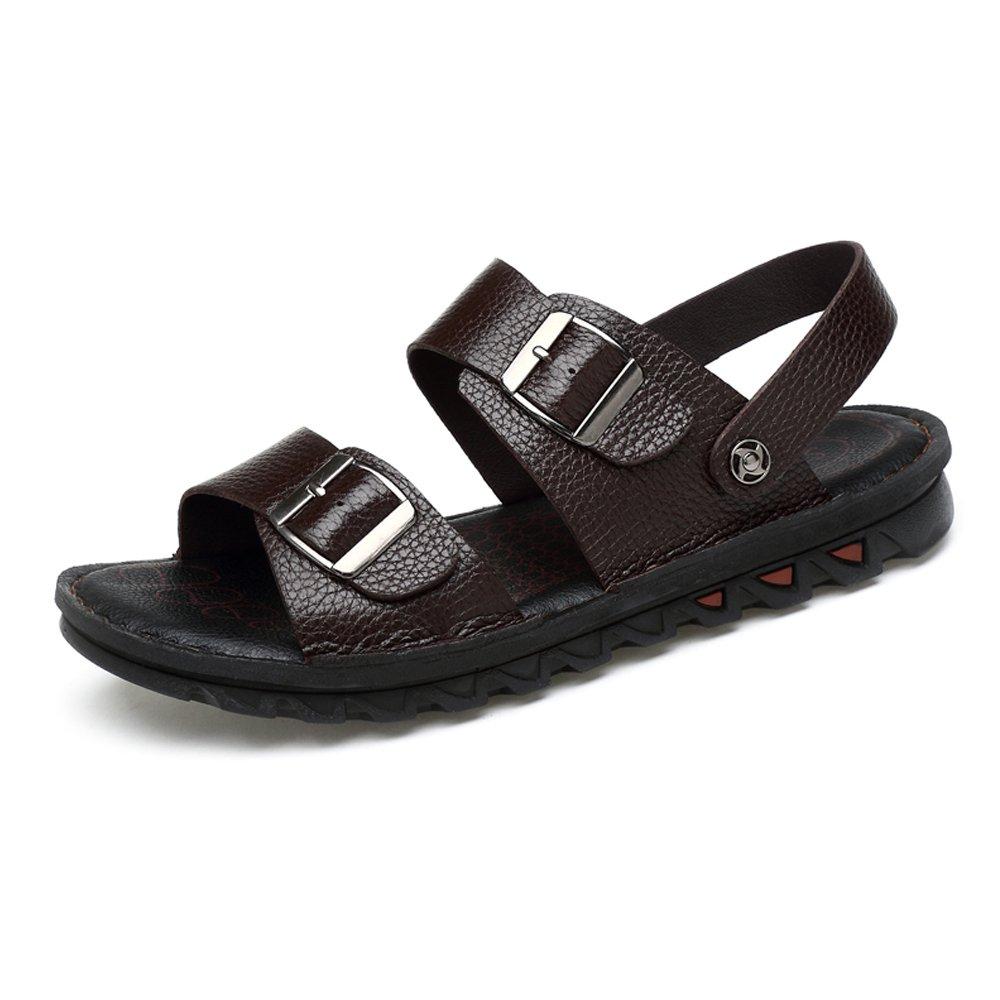 Zapatillas de Playa de Cuero de Vaca Genuino de los Hombres Zapatillas de Deporte Sandalias Antideslizantes Ajustables sin Respaldo 46 EU|Marrón