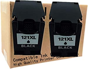 No-name Remanufactured Ink Cartridges Replacement for HP 121 XL HP121 HP121XL 121XL CC641HE CC644H Deskjet D2563 F4283 F2423 F2483 F2493 F4213 F4275 Inkjet Printer (2 Black)